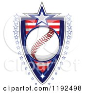 Patriotic Baseball Over An American Sripes Shield With A Border Of Stars