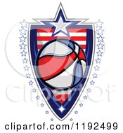 Patriotic Basketball Over An American Sripes Shield With A Border Of Stars