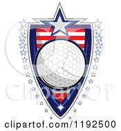 Clipart Of A Patriotic Golf Ball Over An American Sripes Shield With A Border Of Stars Royalty Free Vector Illustration by Chromaco