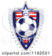 Patriotic Soccer Ball Over An American Sripes Shield With A Border Of Stars