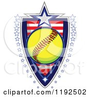 Clipart Of A Patriotic Softball Over An American Sripes Shield With A Border Of Stars Royalty Free Vector Illustration