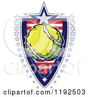 Patriotic Tennis Ball Over An American Sripes Shield With A Border Of Stars