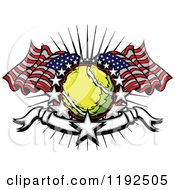 Clipart Of A Patriotic Tennis Ball With American Flags A Burst Stars And A Banner Royalty Free Vector Illustration