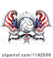 Clipart Of A Patriotic Volleyball With Two American Flags Stars And A Banner Royalty Free Vector Illustration