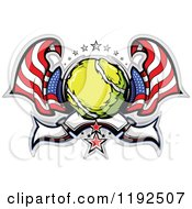 Clipart Of A Patriotic Tennis Ball With Two American Flags Stars And A Banner Royalty Free Vector Illustration