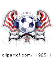 Clipart Of A Patriotic Soccer Ball With Two American Flags Stars And A Banner Royalty Free Vector Illustration