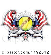 Clipart Of A Patriotic Softball With Two American Flags Stars And A Banner Royalty Free Vector Illustration