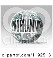 3d Programming Word Collage Sphere On A Shaded Background