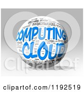 3d Computing Cloud Word Collage Sphere On A Shaded Background