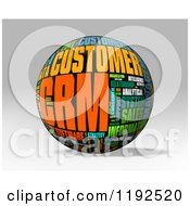 3d CRM Word Collage Sphere On A Shaded Background