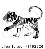 Clipart Of A Black And White Chinese Zodiac Tiger In Profile Royalty Free Vector Illustration by AtStockIllustration
