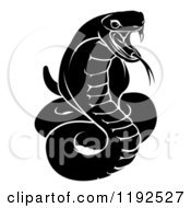 Clipart Of A Black And White Chinese Zodiac Snake Royalty Free Vector Illustration by AtStockIllustration