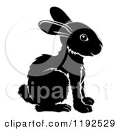 Clipart Of A Black And White Chinese Zodiac Rabbit In Profile Royalty Free Vector Illustration by AtStockIllustration