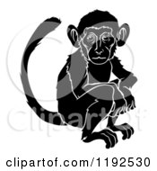 Clipart Of A Black And White Chinese Zodiac Monkey Royalty Free Vector Illustration by AtStockIllustration