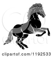 Clipart Of A Black And White Chinese Zodiac Horse In Profile Royalty Free Vector Illustration by AtStockIllustration