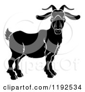 Clipart Of A Black And White Chinese Zodiac Goat Ram Royalty Free Vector Illustration by AtStockIllustration