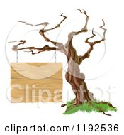 Cartoon Of A Bare Tree With A Wooden Sign Suspended From A Branch Royalty Free Vector Clipart by AtStockIllustration