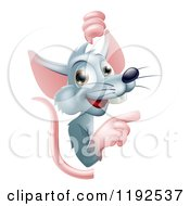 Cartoon Of A Happy Gray Rat Pointing Around A Sign Royalty Free Vector Clipart by AtStockIllustration