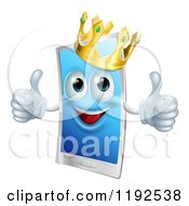 Cartoon Of A Happy Touch Screen Cell Phone Mascot Wearing A Crown And Holding Two Thumbs Up Royalty Free Vector Clipart by AtStockIllustration