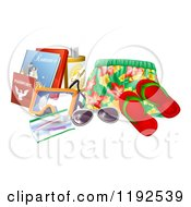Cartoon Of Swim Trunks Sandals Sunglasses Passports Books And Other Vacation Items Royalty Free Vector Clipart by AtStockIllustration