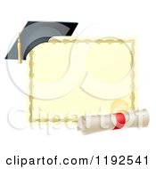 Cartoon Of A Graduation Cap Resting On A Certificate With A Diploma Scroll Royalty Free Vector Clipart