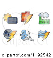 Cartoon Of Energy And Electricity Icons Royalty Free Vector Clipart
