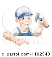 Poster, Art Print Of Happy Carpenter Man Holding A Hammer And Pointing Down At A Sign