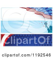 Clipart Of Patriotic American Themed Website Banners Royalty Free Vector Illustration