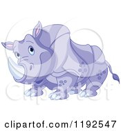 Cartoon Of A Happy Cute Purple Rhino Royalty Free Vector Clipart