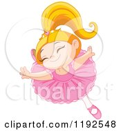 Cartoon Of A Happy Ballerina Princess Girl Dancing Royalty Free Vector Clipart