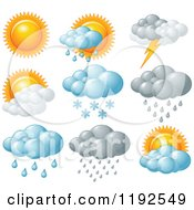 Cartoon Of Weather Icons Royalty Free Vector Clipart
