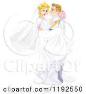 Cartoon Of A Fairy Tale Prince Groom Carrying The Bride Princess Royalty Free Vector Clipart by Pushkin