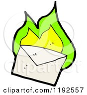 Cartoon Of A Flaming Envelope Royalty Free Vector Illustration