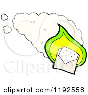 Cartoon Of A Flaming Envelope With A Face Royalty Free Vector Illustration