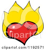 Cartoon Of A Flaming Heart Royalty Free Vector Illustration by lineartestpilot