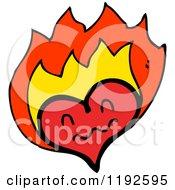 Cartoon Of A Flaming Heart Royalty Free Vector Illustration