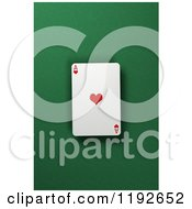Clipart Of A 3d Ace Of Hearts Playing Card Over A Green Felt Surface Royalty Free CGI Illustration by stockillustrations