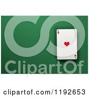 3d Ace Of Hearts Playing Card Over A Green Felt Surface With Copyspace