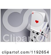 Clipart Of A 3d House Of Cards On Shading Royalty Free CGI Illustration by stockillustrations