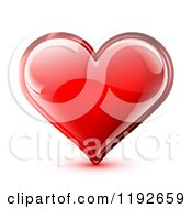 Clipart Of A Red Glossy Heart With Light Reflections On White Royalty Free Vector Illustration