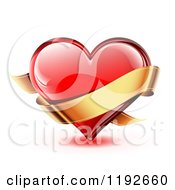 Red Glossy Heart With Light Reflections And A Golden Ribbon Banner On White