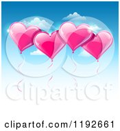 Pink Valentines Day Heart Balloons Floating Over A Gradient Blue Sky With Copyspace