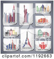 Colorful Patriotic Country Bar Codes With Landmarks And Symbols On Gray