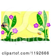 Cartoon Of A Toucan And Bee In A Flower Garden Over Yellow With A White Border Royalty Free Vector Clipart by bpearth