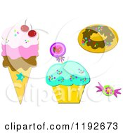 Cartoon Of A Donut Cupcake Candy And Ice Cream Cone Royalty Free Vector Clipart by bpearth
