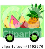 Cartoon Of A Wagon Full Of Fruit Over Green Zig Zags With White Borders Royalty Free Vector Clipart by bpearth