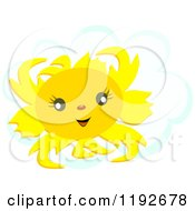 Cartoon Of A Happy Summer Sun Over A Puffy Cloud Royalty Free Vector Clipart by bpearth
