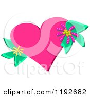 Cartoon Of A Pink Heart With Flowers And Leaves Royalty Free Vector Clipart by bpearth