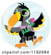 Cartoon Of A Toucan With A Flower Over A Blue Circle Royalty Free Vector Clipart by bpearth
