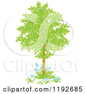 Cartoon Of A Tree With Green Leaves And Blue Flowers Royalty Free Vector Clipart